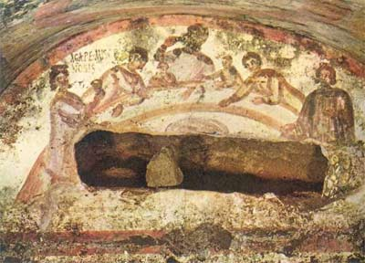 'Fresco of female figure holding chalice in the Agape Feast' Catacomb of Saints