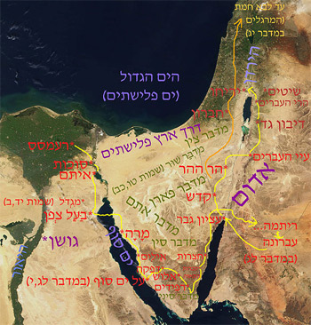 This map showes one of the supposed roads of the jewish exodus, Ori229, 2008