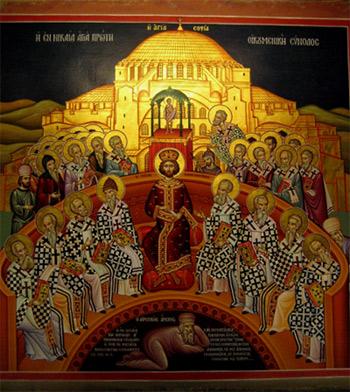 Ikone vom Megalo Meteora Kloster in Griechenland, 'Erstes ökumenisches Konzil zu Nizäa' 325 A.D.', Jjensen, 2008