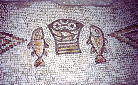 'Brot-und-Fische-Mosaik', Grauesel