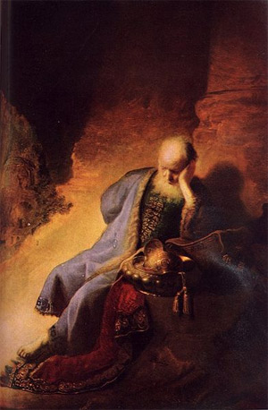 'Jeremiah Lamenting the Destruction of Jerusalem', Rembrandt van Rijn, 2009, Чръный человек