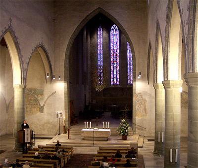 'Evangelische Stadtkirche, Innenansicht von der Orgelempore', Andreas Praefcke, 2005