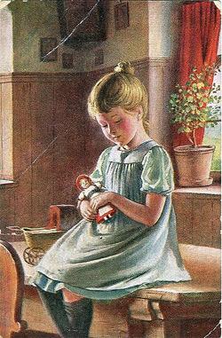 'Postkarte, datiert 4.7.1914: Mädchen mit Puppe', 2008, Anonymous