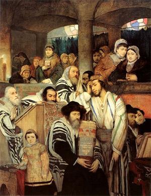 'Jews praying in the Synagogue on Yom Kippur', 1878, Maurycy Gottlieb