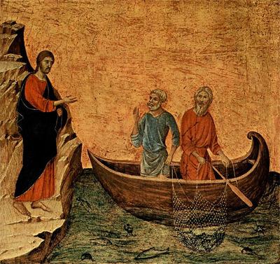 'Die Berufung der Apostel Petrus und Andreas', 1308-1311, Duccio di Buoninsegna