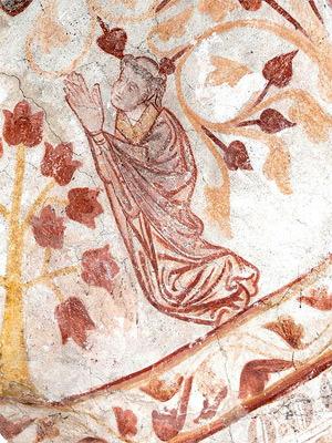 'Betender Franziskaner', Fresco, 13. Jhd., 2008, Wolfgang Sauber