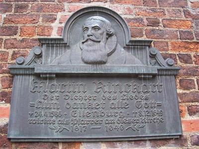 'Tafel an der Nikolaikirche in Eilenburg zu Ehren Martin Rinckarts', 2009, Joeb07