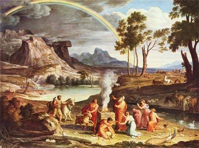 Landschaft mit dem Dankopfer Noahs', um 1803, Joseph Anton Koch