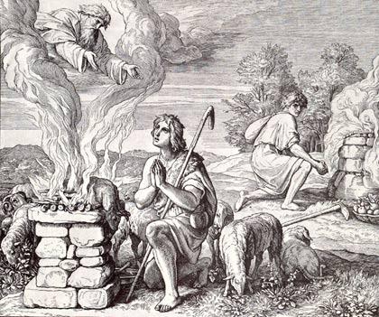 'Kain und Abel bringen ihre Erstlingsopfer dar', 1851-1860, Julius Schnorr von Carolsfeld