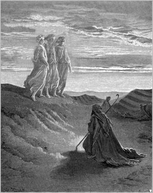 'Abraham, God and two angels', Gustave Doré, 1852
