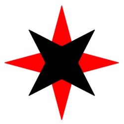 'red and black star, symbol of Quaker service', Zach Alexander, 2005