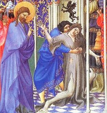 'Christus heilt einen Besessenen', Handschriftenillumination aus einem Stundenbuch des Grafen von Berry, vermutlich 15. Jahrhundert