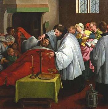 'Letzte Ölung', Dutch School, c.1600