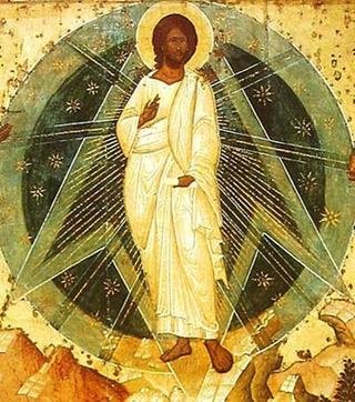 Ausschnitt aus 'Icon of transfiguration (Spaso-Preobrazhensky Monastery, Yaroslavl', 1516