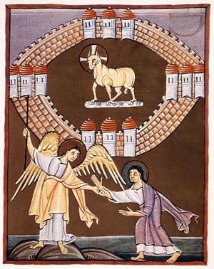 'Das neue Jerusalem', um 1000, Bamberger Apokalypse Folio 55 recto