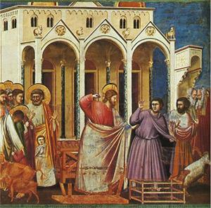 Vertreibung der Geldwechsler aus dem Tempel, Giotto di Bondone, 1267-1337