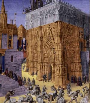 Bau des Tempels in Jerusalem, Buchmalerei von Jean Fouquet, um 1470-1475
