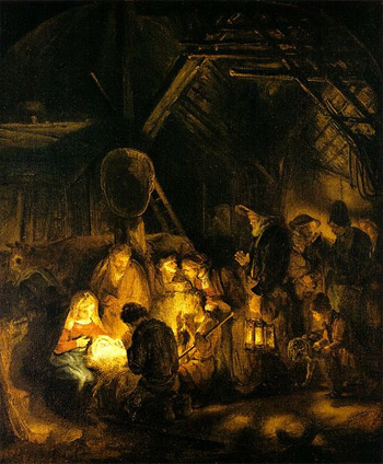 'The Adoration of the Shepherds', 1646, Workshop of Rembrandt
