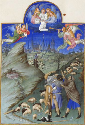 'The Annunciation to the Shepherds', Les Très Riches Heures du duc de Berry, Folio 48r