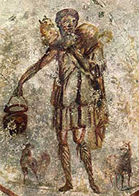 'Jesus as the Good Shepherd', mid 3rd century A.D. , painting in catacomb