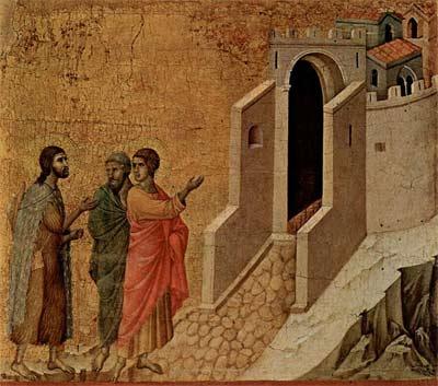 'Christus erscheint zwei pilgernden Apostel in Emmaus', Duccio di Buoninsegna, 1308-1311