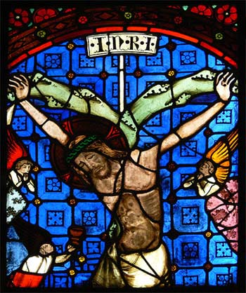 Glasfenster aus der Minoritenkirche Regensburg - Passionsszene aus dem mittleren Chorfenster: Kreuzigung, um 1330, Photo: Andreas Praefcke, 2009