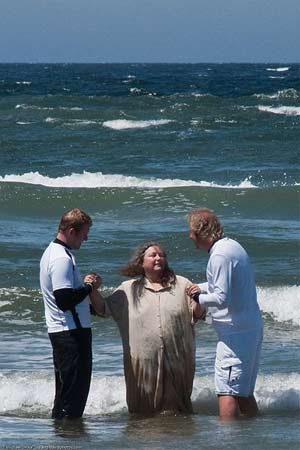 'Mass baptism performed on Easter Sunday 12 April 2009 at Morro Rock in Morro Bay, CA', 2009, Mike Baird