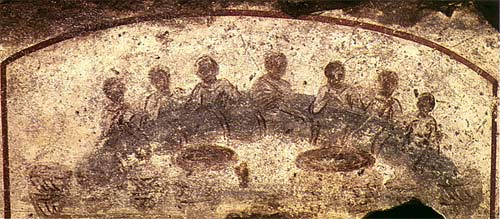 'Agape feast, Early Christian catacomb of San Callisto', 3rd century / Paleochristian art