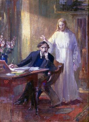 'Selbstporträt mit Christuserscheinung', um 1900, Martin von Feuerstein