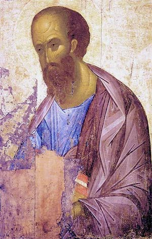 'Icon of en:Saint Paul Apostle', 1407, Andrej Rublev