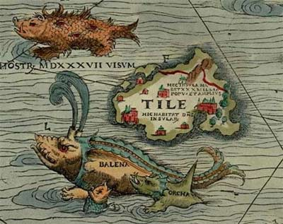 'The mythical island of Thule on the Carta Marina ', 1539, Olaus Magnus