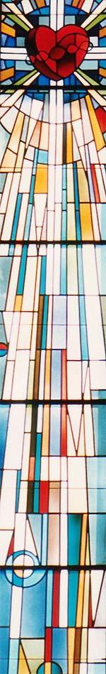 Ausschnitt aus einem Glasfenster, das 'sacred heart' zeigt, Rebecca Kennison, 1985