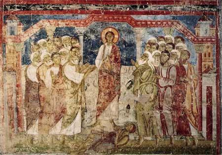 'Christus heilt in der Synagoge von Capernaum einen Besessenen', 11. Jahrhundert, Scan aus: Rudolf Lehr
