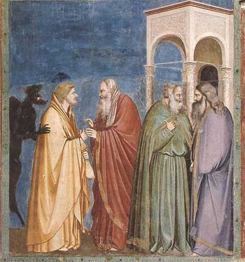 'Judas Receiving Payment for his Betrayal', Giotto di Bondone (1267-1337)