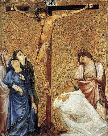 'Christ on the Cross with a Praying Carthusian Monk', 1390-95, Jean de Beaumetz