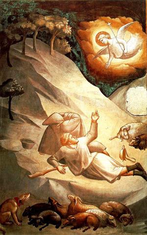'Verkündigung an die Hirten', Taddeo Gaddi, 14. Jhd., Ausschnitt, Baroncelli Kapelle, Santa Croce Kirche, Florenz