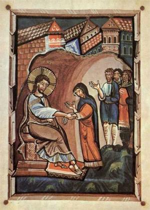 'Jesus und die Schwiegermutter Petri', Meister des Hitda-Evangeliars, um 1020, (Bremond 2008)