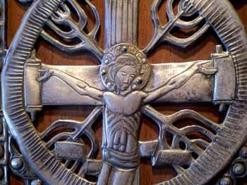 'Jesus Querbalken = Schriftrolle', Grace Cathedral, San Francisco