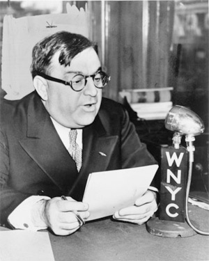 'Fiorello H. LaGuardia, mayor of New York City. 'Mayor La Guardia speaks over WNYC on Grade A milk from Budget Room', 1940, Fred Palumbo, World Telegram staff photographer