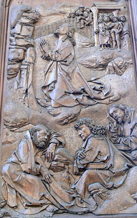 'Heilig-Blut-Altar in St.Jakob in Rothenburg. Rechter Altarflügel: Jesus im Garten Gethsemane', 2007, Wolfgang Sauber