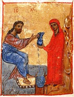 'Jesus und die samaritische Frau', Miniatur aus dem 12 Jahrhundert, Jruchi Gospels II MSS, Georgia.