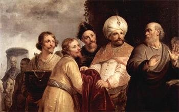 'Elisa verweigert die Annahme der Geschenke Naemans', 1637, Haarlem, Niederlande.