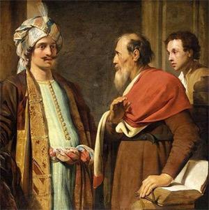 'Elisha (right) Refusing Gifts from Naaman', 1630, Pieter De Grebber