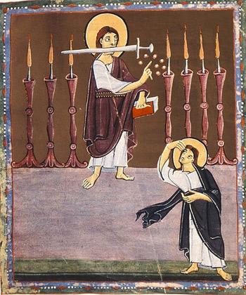 'Der Menschensohn unter den sieben Leuchtern', um 1000, Bamberger Apokalypse Folio 3 recto, Bamberg, Staatsbibliothek, MS A. II. 42