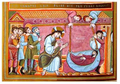 'Heilung des Gelähmten von Kapernaum', zwischen 980 und 993 n.Chr., Codex Egberti, unknown Fol