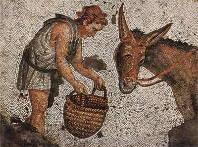 'Bodenmosaik, Szene: Kind und Esel, Fragment', 5. Jh., Byzantinischer Mosaizist des 5. Jahrhunderts