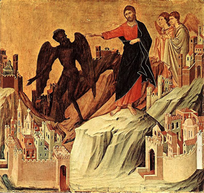 Die Versuchung Christi (The Temptation on the Mount). Maestà by Duccio di Buoninsegna, Museo dell'Opera del Duomo, Siena