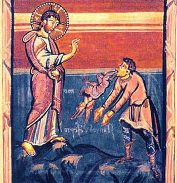 'Jesus heilt den Besessenen von Gerasa Mittelalterliche Buchillustration', 2005, Markus Mueller