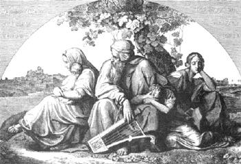 'Babylon' - Kupferstich von Ferdinand Ruscheweyh nach einem Gemälde Eduard von Bendemanns, 1832