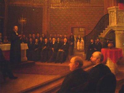 Bildausschnitt aus dem Gemälde von J.W. Rumpler anläßlich der Einweihung in der neuen Dreikönigskirche am 08.05.1881
